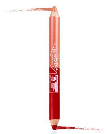crayon à levre deux couleurs rose rouge corail purobio