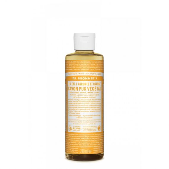 savon pur vegetal 18en1 dr bronner agrumes orange