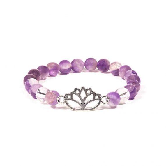 bracelet Améthyste chevron et Cristal de roche