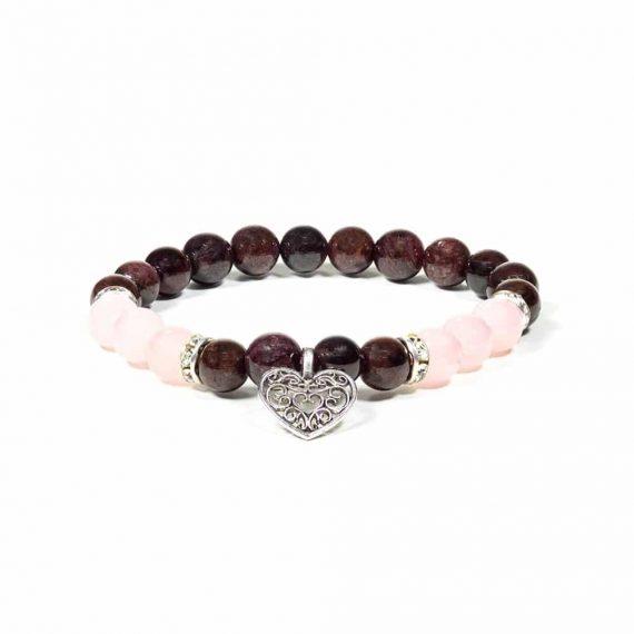 bracelet grenat et quartz rose 1