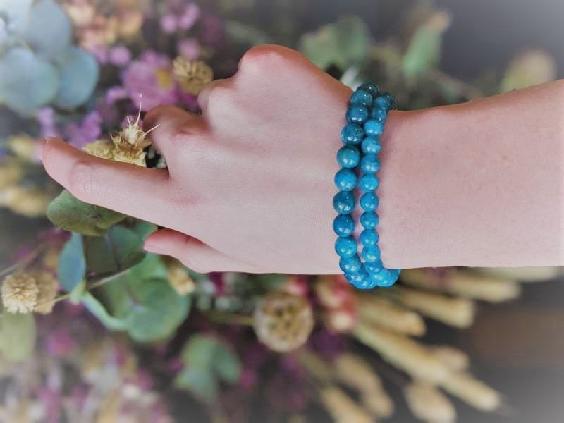 bracelet Apatite bleu box evidence