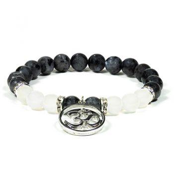 bracelet labradorite agate blanche avec om box evidence