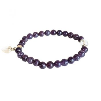 bracelet lepidolite violette perles et coeur box evidence
