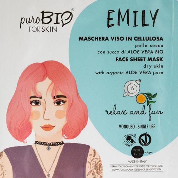 masque emily relax and fun peau seche purobio box evidence