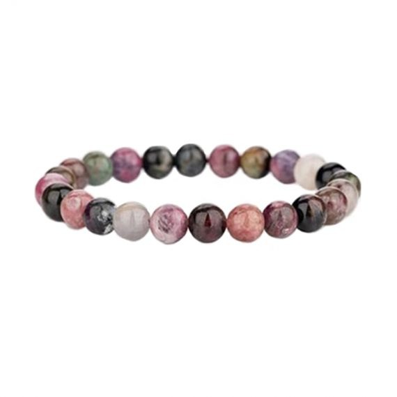 bracelet tourmaline multicolore 6mm box evidence