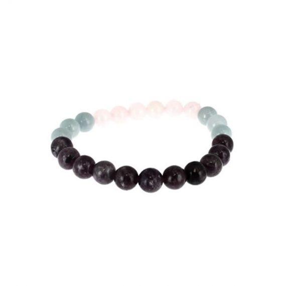 bracelet balance aigue marine lepidolite quartz rose box evidence