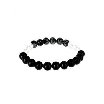 bracelet capricorne cristal de roche, obsidienne neige obsidienne oeil celeste box evidence